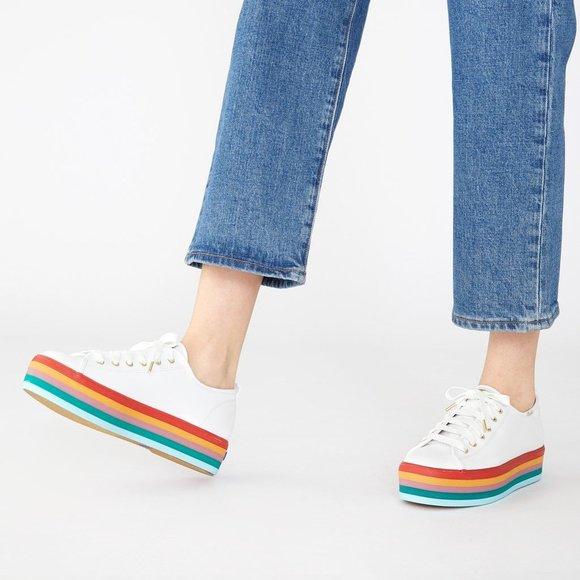 *NEW* Keds Leather Rainbow Platform Sneakers